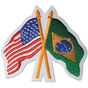USA America / Brazil Crossed Flags Patch