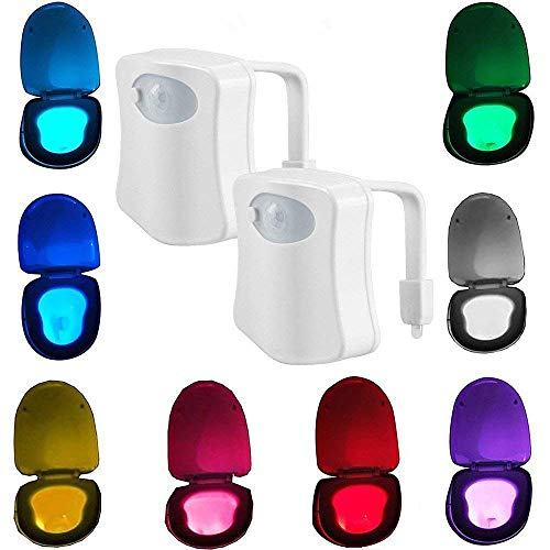 2-Pack Kingcenton Advanced Motion Sensor LED Toilet Light, Inside Tolit Bowl Nightlight, Human Body Motion Auto Activated Sensor Seat Night Lamp, 8-Color Changing (Only Activates in Darkness) ()