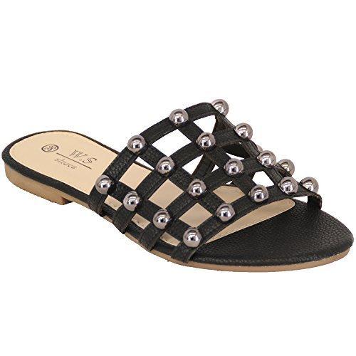 WS Sandali con Zeppa da Donna Slip on Borchie Pantofola Open Toe Moda Casual Vacanza Estate - Bianco - LS22, 6 UK