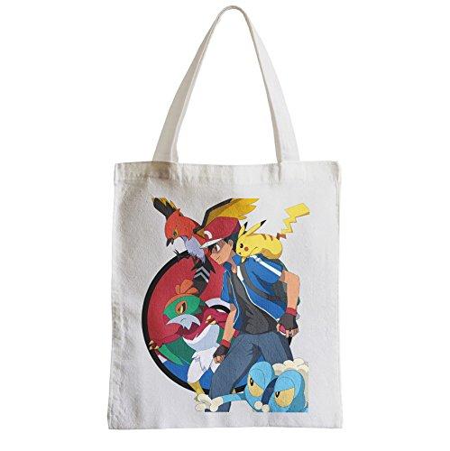 Große Tasche Sack Einkaufsbummel Strand Schüler pokemon sie alle Pikachu sacha Trainer Manga Videospiele fangen