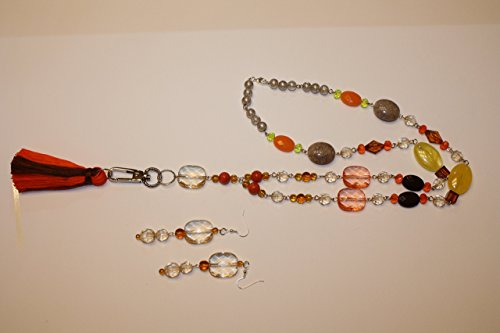 Autumn Fall Jewelry Set Handmade Orange Brown Tassel Necklace Convertible Lanyard Earrings Large Statement Bold Sweater Necklace Amber Czech Glass Rosary Style Handmade Tassel Double Colors