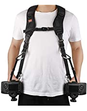 Ztowoto Camera Strap Double Shoulder Camera Strap Harness Quick Release Adjustable Dual Camera Tether Strap with Safety Tether for DSLR SLR Camera