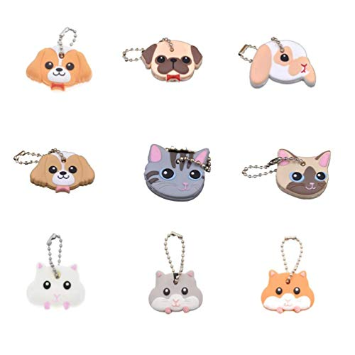 CHZIMADE Keychains Set Dog and Cat Keyring Holder for Car Key Finder