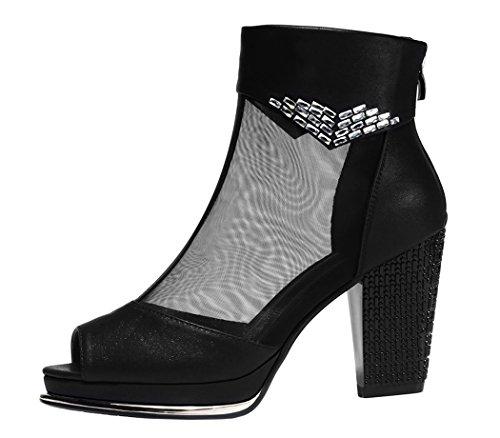 Passionow Christmas Womens 2015 New Platform PU Fashion Peep Toe Ankle Heeled Sandals(8 B(M)US, Black)