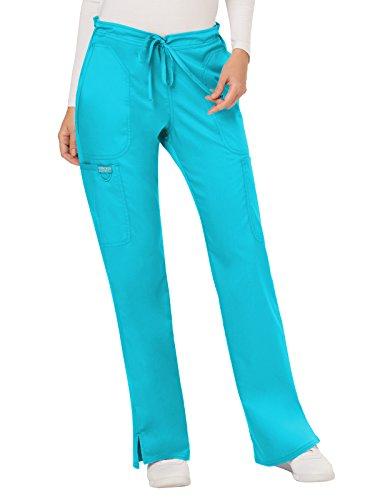 Cherokee WW Revolution WW120 Mid Rise Drawstring Cargo Pant Turquoise L Petite Drawstring Cargo Scrub Pants