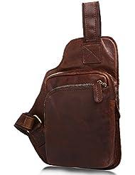 Mayshe Mens Genuine Leather Sling bag Cross body Bag Chest Bag Pack Sling Shoulder Backpack for Traveling
