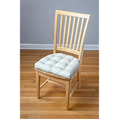 Barnett Home Decor Ticking Stripe Aqua Dining Chair Pad with Ties - Size Standard - Latex Foam Fill Cushion - Machine Washable, Reversible, Solid Color, 100% Cotton, Made in USA (Berlin/Turquoise) : Garden & Outdoor