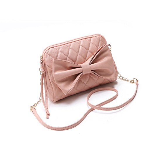 Changeshopping(TM)New Women Bag Faux Leather Shoulder Bowknot Satchel Body Tote Handbag (Pink)