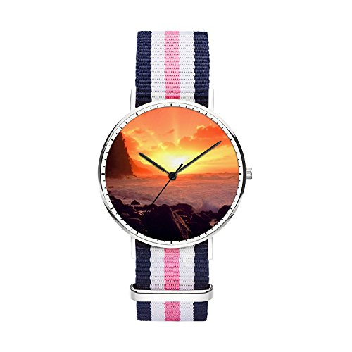 FELOOWSE Girls Watches, Women Watches, Sliver Slim Minimalist Imported Japanese Quartz PracticalWaterproof Unique Personalized Youth Fashion Design Cute Watches for Women.- Sea by FELOOWSE