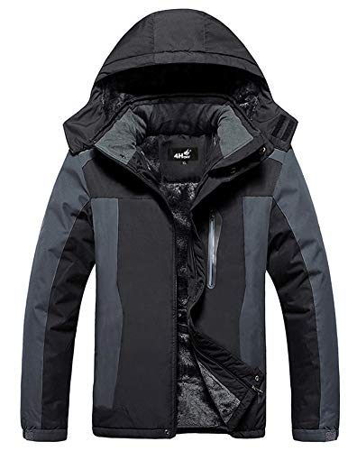 4How Mens Ski Snow Jacket Water Resistant Hooded Winter Coats