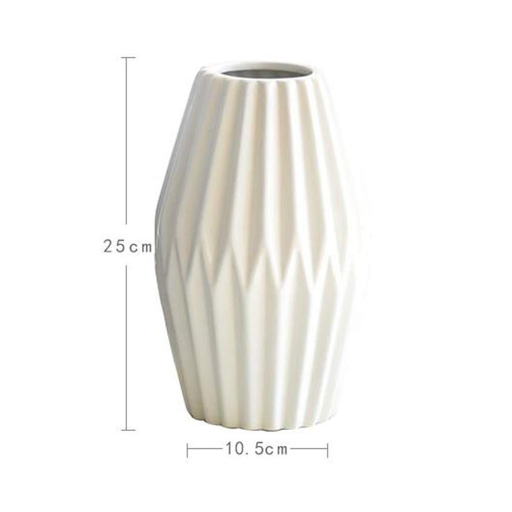 セラミック花瓶用花緑植物結婚式の植木鉢装飾ホームオフィスデスク花瓶花バスケットフロア花瓶 (色 : 白) B07RLM62MK 白