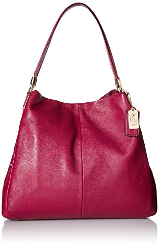 COACH Madison Leather Small Phoebe Shoulder Bag Shoulder Bag Cranberry