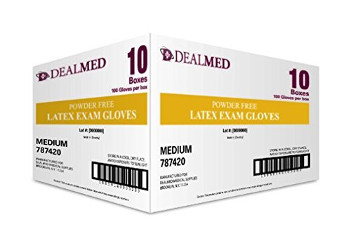 Dealmed Disposable Latex Exam Gloves, Non-Sterile, Heavy Duty, Professional Grade for Hospitals, Law Enforcement, Food Vendors, Tattoo Artists, Medium, 1000 Count