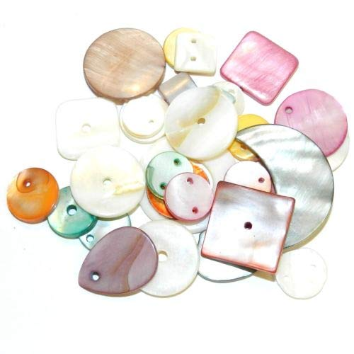 MPL2644 Assorted Color Drop Link & Button 10mm - 34mm Mother of Pearl Shell Bead Crafting Key Chain Bracelet Necklace Jewelry Accessories Pendants ()
