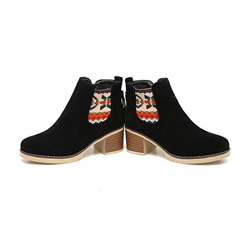 Boots Womens nbsp; Platform Velvet Black Microsuede AdeeSu Chunky nbsp;Lining SXC02608 Heels 8xRUUd1