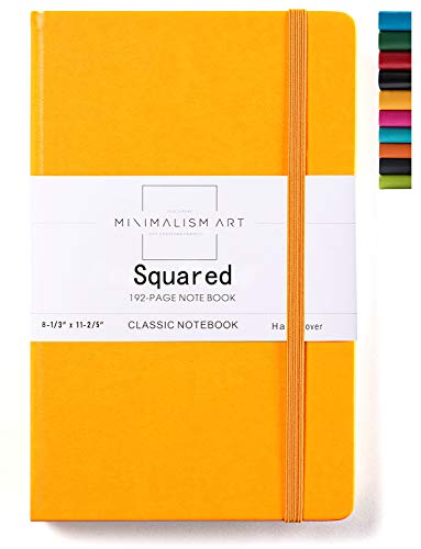 Minimalism Art, Classic Notebook Journal, A4 Size 8.3 X 11.4 inches, Yellow, Squared Grid Page, 192 Pages, Hard Cover, Fine PU Leather, Inner Pocket,Quality Paper-100gsm, Designed in San Francisco