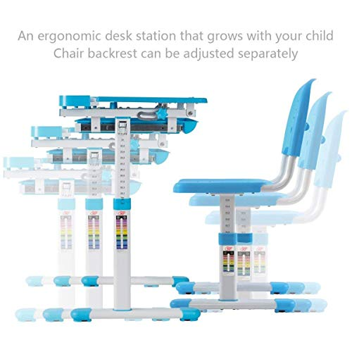 Multifunctional Height Adjustable Children's Desk Chair Set - Blue Only by eight24hours by CWY (Image #2)
