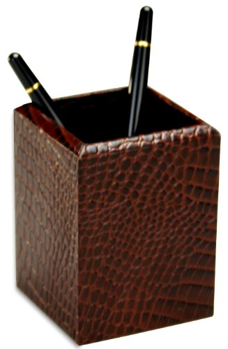 Crocodile Leather Pencil Cup - Dacasso Brown Crocodile Embossed Leather Pencil Cup