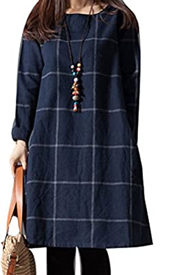 Soojun Women's Vintage Plaid Casual Loose Mini Tunic Dress