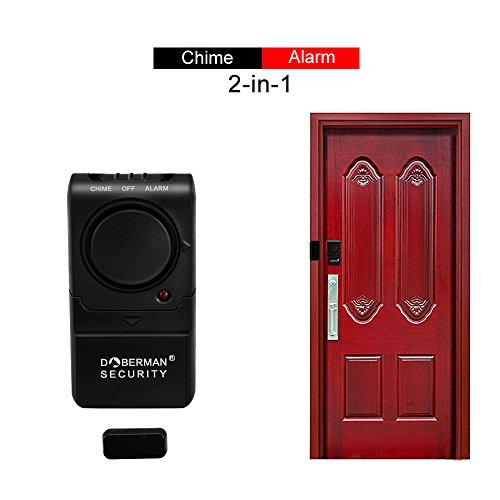 Office Alarm (Welltop Wireless Home Security Window/Door Alarm (2 packs) Chime with Loud100 dB Siren Alarm and Chime 2 in 1 Perfect for Home, Office, Door Room, Garage)