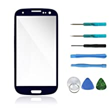Sanheshun Front Outer Screen Glass Lens Replacement Compatible with Samsung Galaxy S3 i9300 + 8 Tools (Navy Blue)