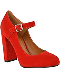 Womens Block High Heels Court Shoes Mary Jane Strappy...