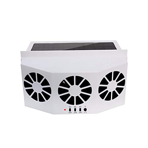 Nstcher Solar Powered Car Auto Air Vent Cool 3-Fan Cooler Ventilation System Radiator Rubber Sealing Strips Manual Control (White)