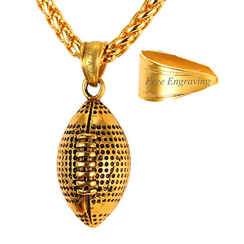 U7 Personalized Football Pendant Necklace Vintage Black Enamel 18K Gold Plated Gift Charm for -
