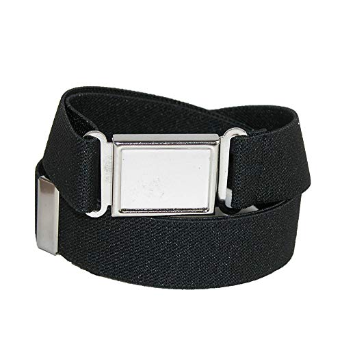 CTM Kids' Elastic 1 Inch Adjustable Belt with Magnetic Buckle, Black -