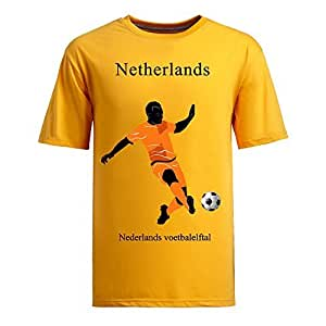 Custom Mens Cotton Short Sleeve Round Neck T-shirt,2014 Brazil FIFA World Cup teams yellow