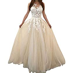 Euone Dress Clearance Women Fashion Floral Lace Wedding Elegant Chiffon Evening Party Dress Ball Gown