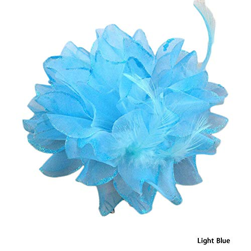 - Ladies Girls Large Rose Flower Hair Wedding Party Clip/Brooch/Fanscinator Deco (Colour - Light Blue)