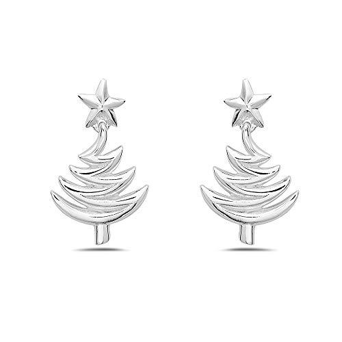 Tisoro 925 Sterling Silver Plain Christmas Tree Stud Earrings - North Star on Top - Dangling Christmas Jewelry (Tree Christmas Elegant)