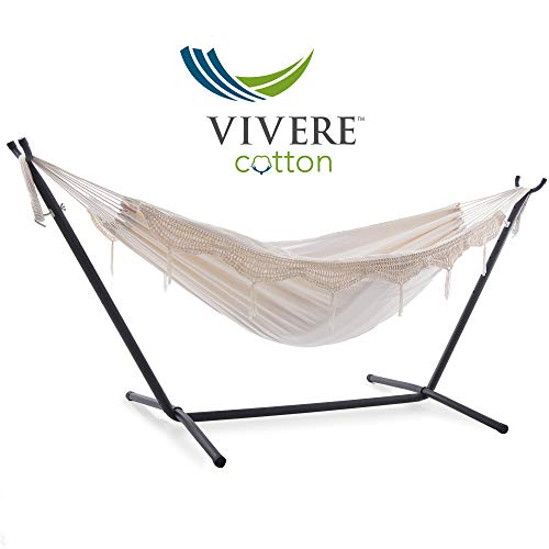 Vivere Double Hammock with Space Saving Steel Stand, Natural (450 lb Capacity - Premium Carry Bag Included) (Hammock Fringe)