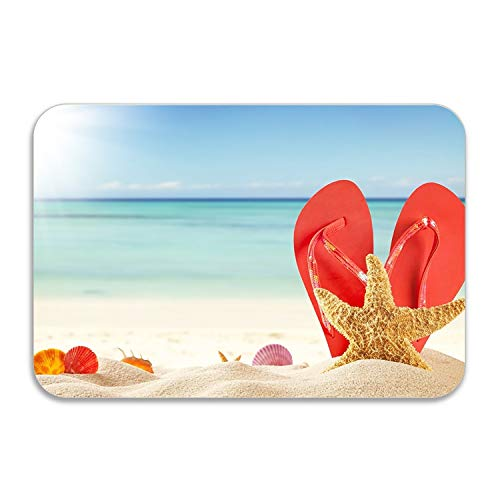 FunnyLife Summer Beach Door Mat for Bedroom Bathroom Living Room Kitchen Home Decorative 20x32 inch Lightweight ()