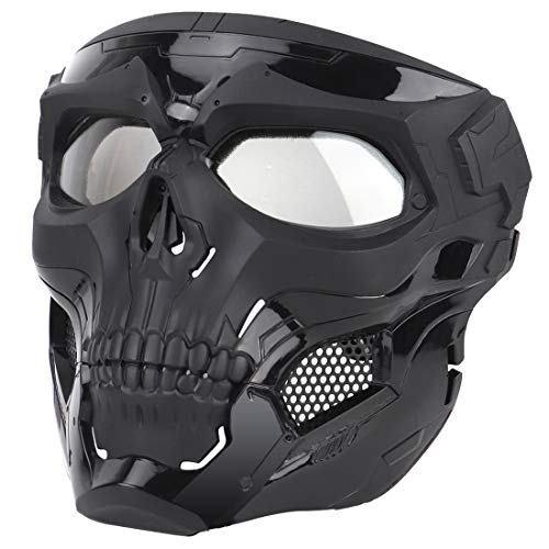 WOLFBUSH Skull Airsoft Mask Full Face Party Mask Costume Cosplay Mask Tactical Mask Skull Full Face Paintball Mask for Airsoft Wargame Halloween Cosplay Party