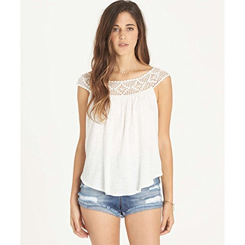 Billabong Women's Get Together Crochet Detail Knit Top, Cool Whip, M