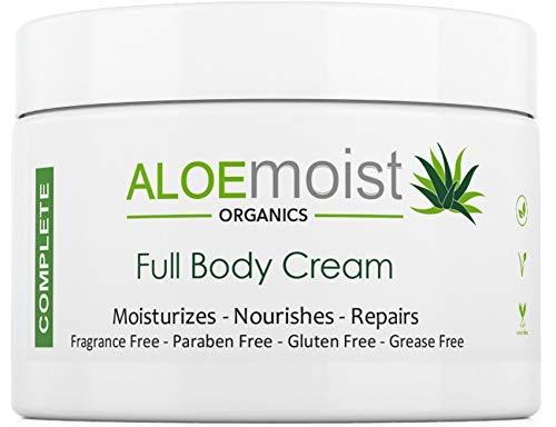 Natural Body & Face Cream Moisturizer - Non Greasy, No Fragrance - Organic Aloe Vera, Vitamin C, E, Retinol - For Eczema, Psoriasis, Acne, Scars, Stretch Marks, Sensitive Dry Skin - For Men & Women