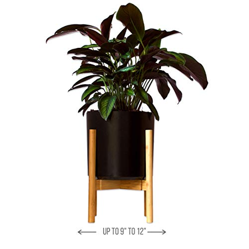 Mid Century Modern Plant Stand by MCS - 9.5 to 12 inch Adjustable Bamboo Wood Pot Stand Holder 14 in Tall - for Outdoor and Indoor Standing Plant Flower Display (Pot and Plant not Included)