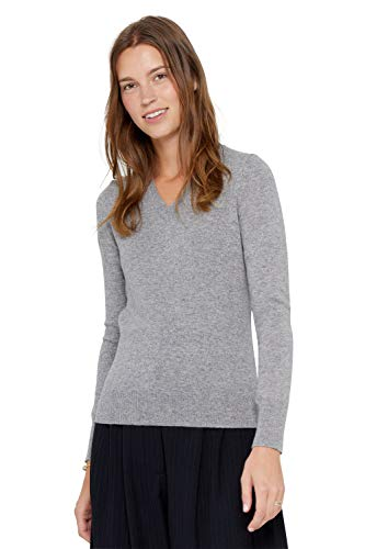 State Cashmere Essential V-Neck Sweater 100% Pure Cashmere Long Sleeve Pullover for Women (Heather Grey, Medium)