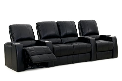 Cheap Storm XL850 Home Theater Sectional Couch – Octane Seating – Black Leather – Manual Recline – Straight Row of 4 Chairs with Middle Loveseat