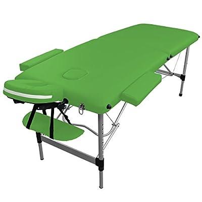 Table de massage Aluminium Pliante 2 zones livrée avec accessoires - Revêtement vert - Qualité CE - Garantie 2 ans - Utilisation professionnelle ou personnelle. Satisfait ou remboursé. Achat group&e