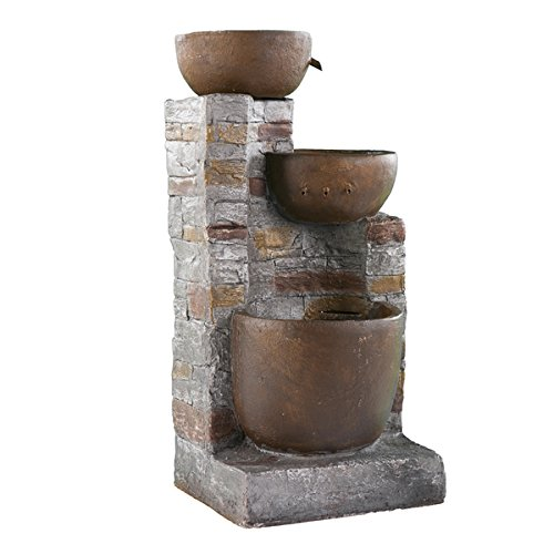 Home & Garden Decor/ Water Fountain Reilly Rustic Style Outdoor Fountain- Assembly Required OS1469DO. 35 in High x 16 in Wide x 14 in Deep by Upton Home