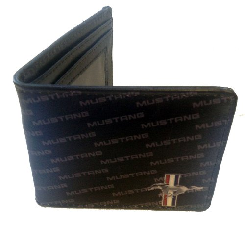 ford-mustang-horse-bars-logo-w-repeating-text-car-auto-bi-fold-wallet