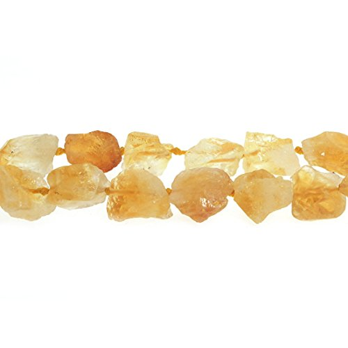 (Natural AAA Citrine Quartz Crystal Nugget Raw Beads Strand 16