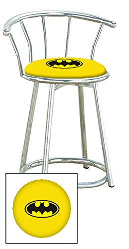 Custom Arcade Gaming Stool in a Chrome Metal Finish with a Swivel Seat and Backrest Featuring a Batman Comic Book Hero Themed Seat Cushion! (Yellow Vinyl Batman (Yellow Vinyl Seat)