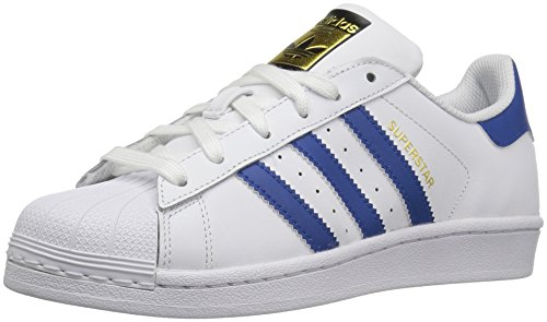 adidas Originals Kids' Superstr Foundation, White/EQT Blue/EQT Blue, 4.5 M US Big Kid