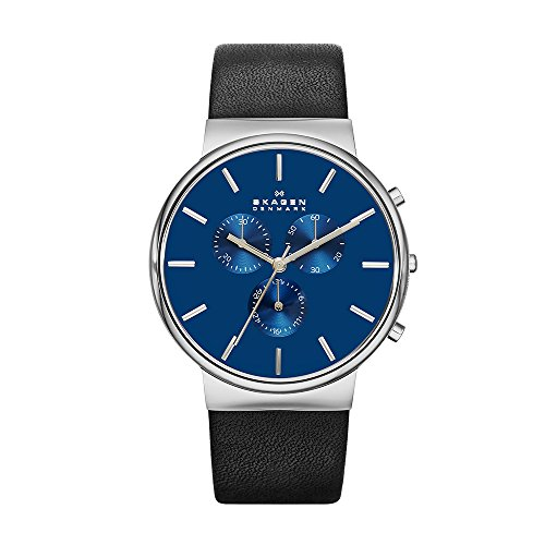 Skagen Men's SKW6105 Ancher Black Leather Watch (Blue Dial Jewelry)