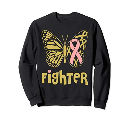 Breast Cancer Awareness Think Pink Ribbon Butterfly Ladies Sweatshirt