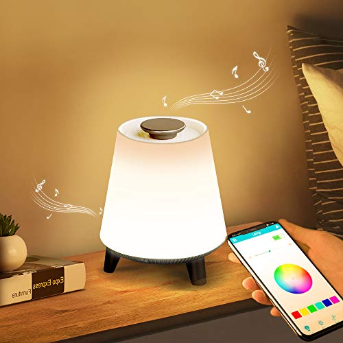Shinco Table Lamp with Bluetooth Speaker and USB Charging Port, Dimmable Color Changing Beside Lamp for Bedroom Living Room